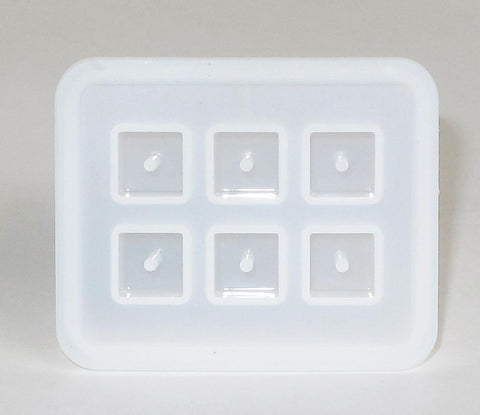 Silicone cube bead mold with cast in place holes - 6 cavities