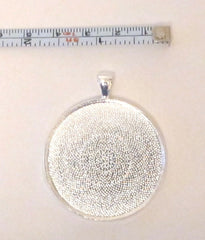 Extra large round silver bezel cup pendant - 38mm