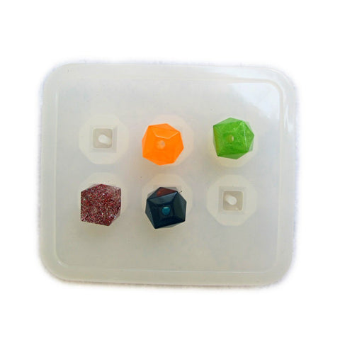Square faceted bead reusable clear silicone mold - resin beads