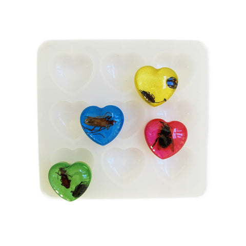 Nine cavity heart reusable silicone mold