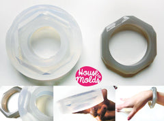 Clear silicone thin faceted bangle mold