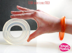 Clear silicone rounded smooth bangle mold