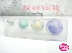 Clear silicone sphere mold 4 cavity sizes