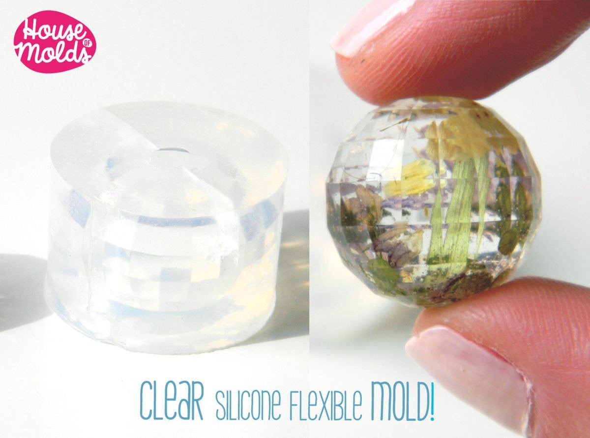 Clear silicone faceted sphere mold