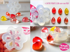 Clear silicone teardrop mold 6 cavities