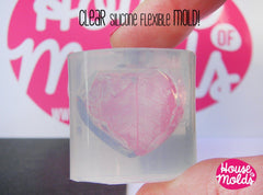 Clear silicone faceted heart mold