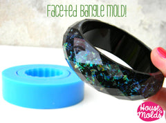 Clear silicone round faceted bangle mold