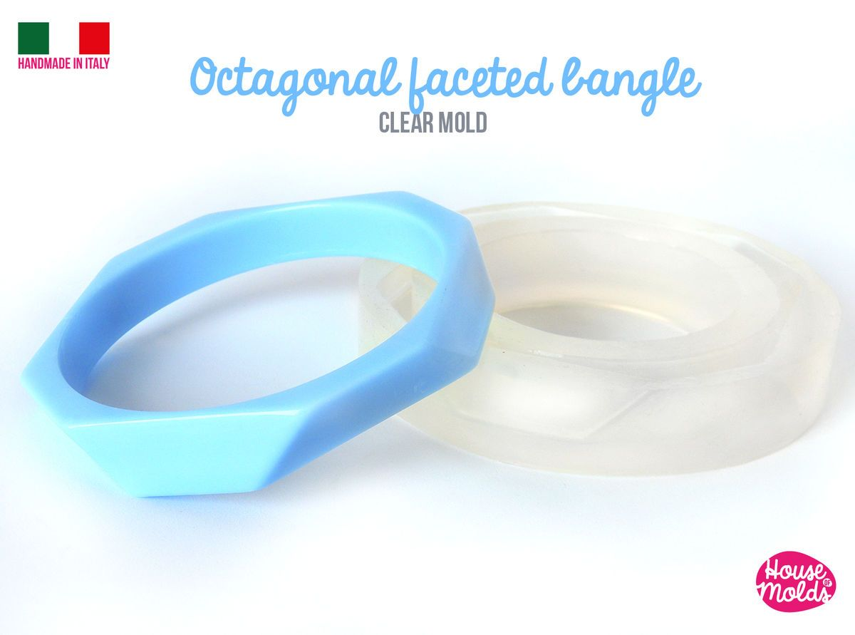 Clear silicone octagonal shape faceted bangle mold