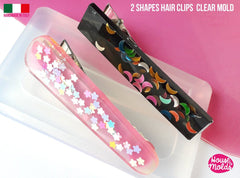 Clear silicone resin hair clips mold - two designs of resin hairclips