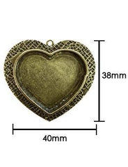 ICE resin Milan bezels - heart shaped - antique gold finish