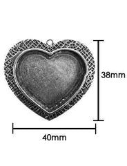 ICE resin Milan bezels - heart shaped - antique silver finish