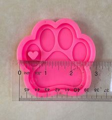 Silicone pawprint keychain charm mold - includes hardware