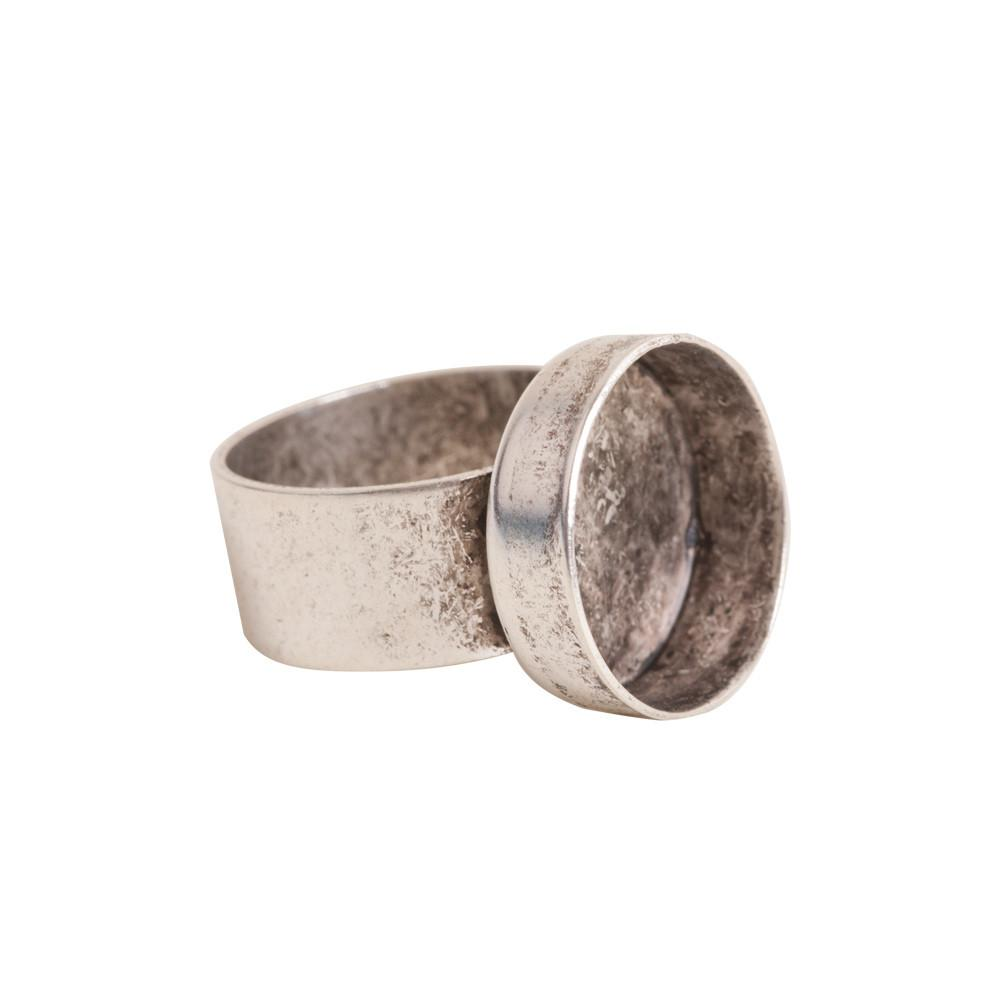 Adjustable Deep Bezel Small Circle Antique silver ring
