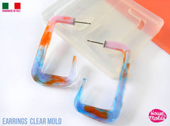 Clear silicone rectangle shape hoop earrings mold