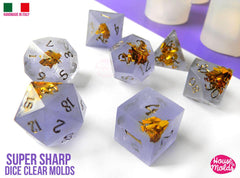 Clear silicone set of 7 dice molds - extra sharp edges