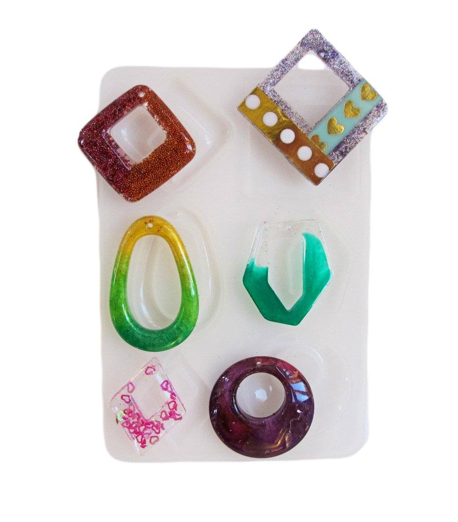 Six pendant cavity clear silicone mold - make resin pendants in 6 styles