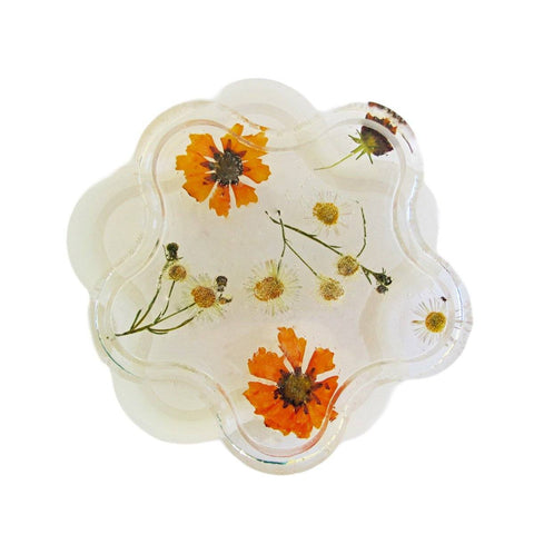 Flower shape silicone coaster trinket dish mold