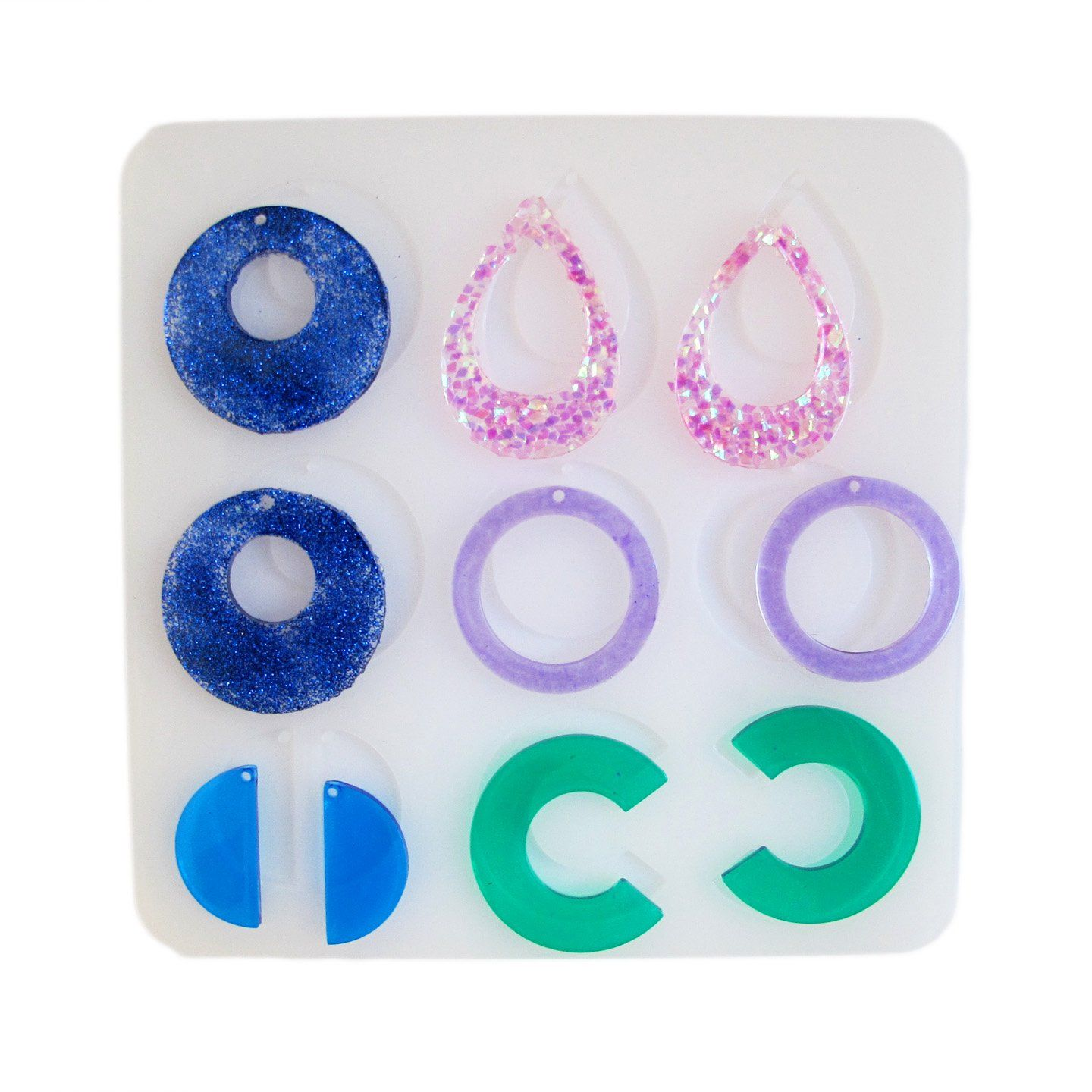 Silicone earrings mold - multiple resin earring designs - DIY jewelry