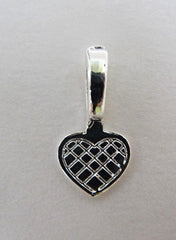 Silver plated heart shaped glue on bails