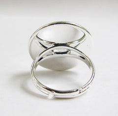 Adjustable band silver ring 20 mm bezel cup