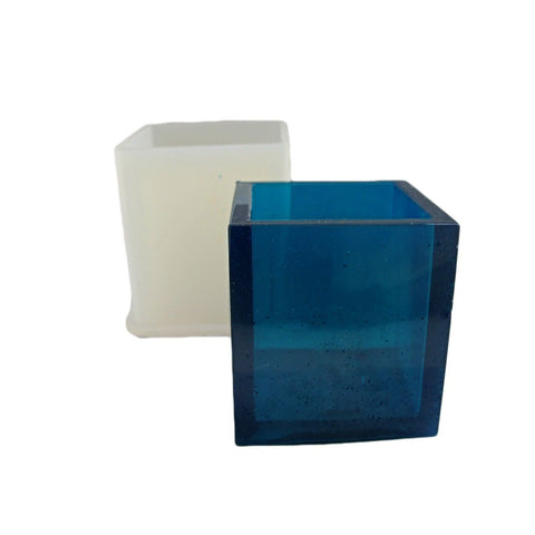 Clear silicone square vase mold - desk planter mold