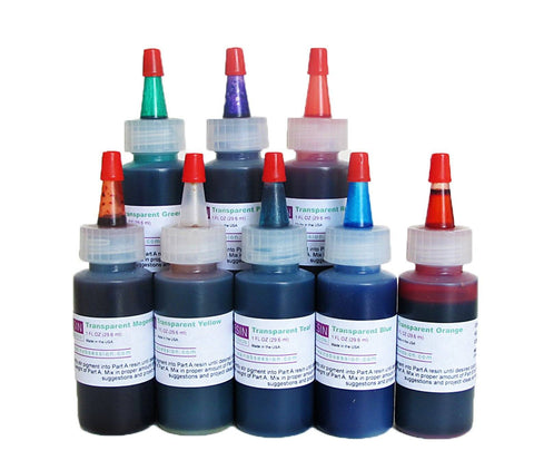 Transparent Color Resin Epoxy Pigment, Complete Set of 8
