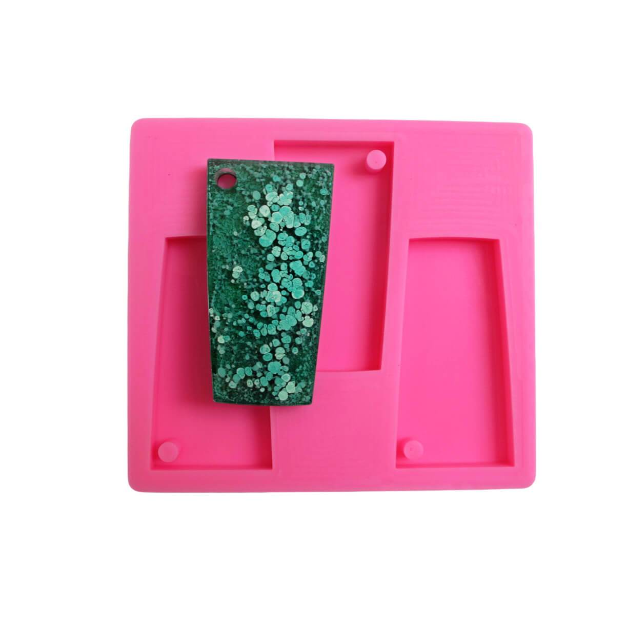 Trapezoid glass shaped silicone key chain mold