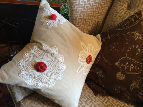Pillow With Vintage Buttons & Crochet