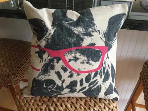 Stylin' Pink Sunglasses Giraffe Pillow