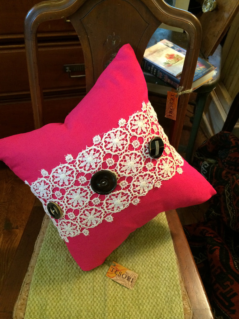 Vintage Button Pillow With Antique Crochet