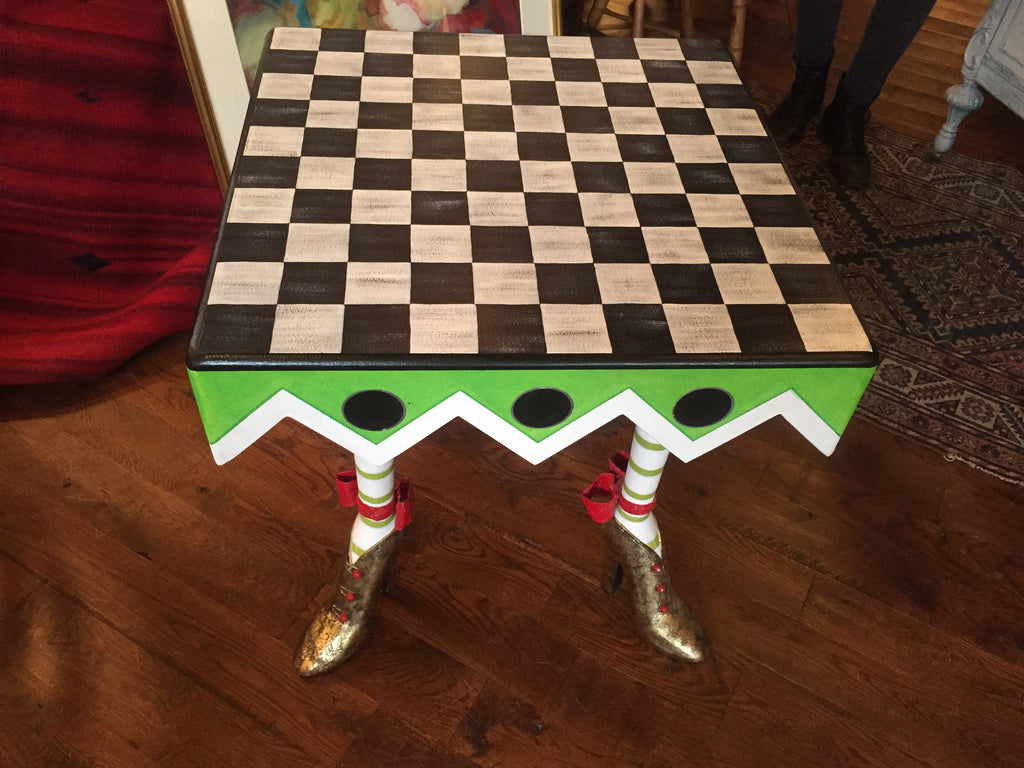 Loving Shoes Patience Brewster table with custom checkerboard top