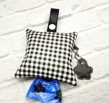 Load image into Gallery viewer, Checkered Dog Poop Bag Dispenser in Black & White- Personalized