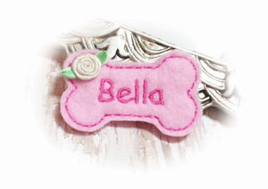 Personalized Dog Hair Bow - Bone Shape Light Pink/Pink with Ribbon Rose