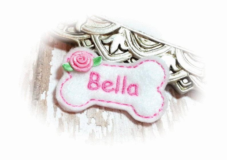 Personalized Dog Hair Bow - Bone Shape White/Pink with Ribbon Rose