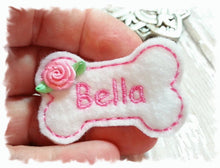 Load image into Gallery viewer, Personalized Dog Hair Bow - Bone Shape White/Pink with Ribbon Rose