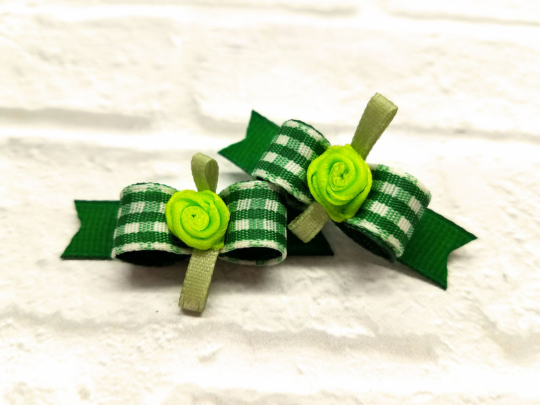 3/8 Green gingham mini check dog bows with flower