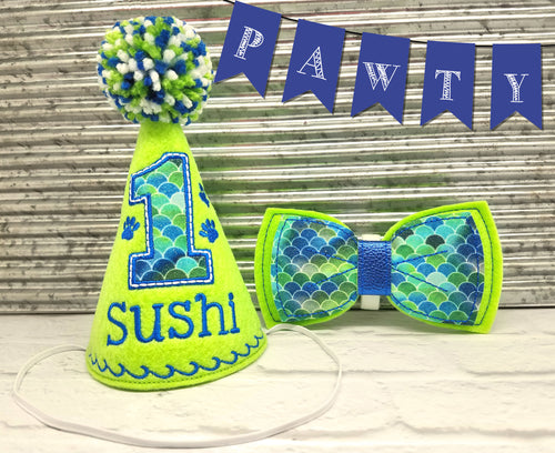 Lime Green Pet Party Hat & Bow Tie Combo