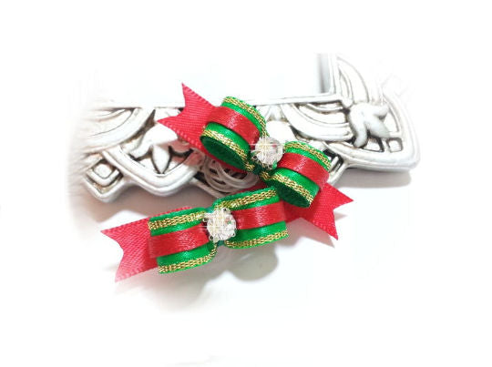 3/8 Dog Bow - Green/Red Satin Gold Edge Christmas Dog Bows