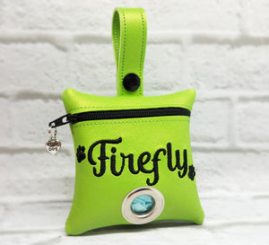 Dog Poop Bag Holder Personalized -Lime Green
