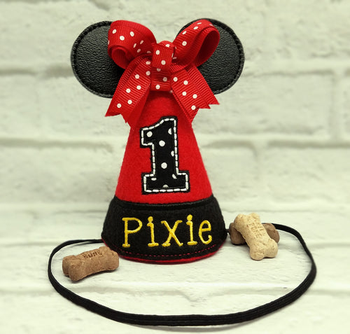Dog Birthday Hat Red/Black Big Mouse Ears for 1st Birthday, Gotcha Day