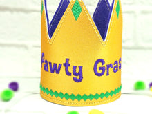 Load image into Gallery viewer, Mardi Gras Dog Party Crown in Gold - Pawty Gras!