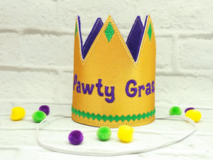 Mardi Gras Dog Party Crown in Gold - Pawty Gras!