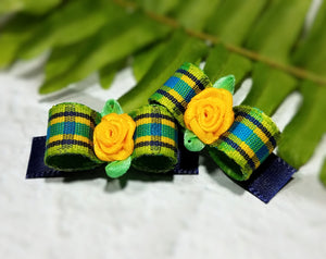 "3/8"" Dog Bow - Lime Green and Navy Plaid with Yellow Ribbon Rose Flower"