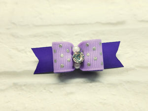 "5/8"" Dog Bow - Lilac with Silver Foil Dots and Rhinestone Center"