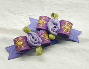 "3/8"" Dog Bow - Lilac Grosgrain Ribbon with Gold Snowflakes , Ribbon Rose"