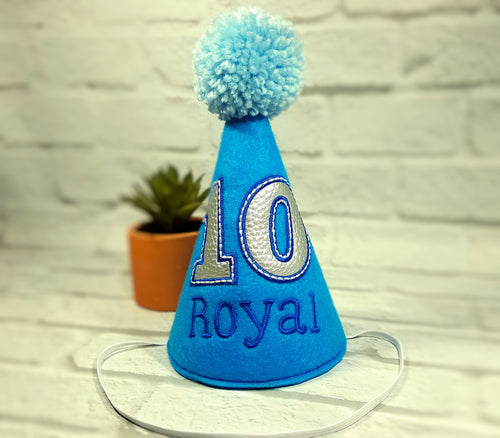 Dog Birthday Hat Personalized Brilliant Blue & Silver for 1st Birthday, Gotcha Day