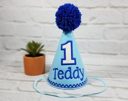 Dog Birthday Hat Personalized Light Blue & White Sparkle for 1st Birthday, Gotcha Day