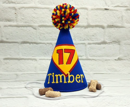 Super Doggie Dog Birthday Hat Personalized for 1st Birthday, Gotcha Day, Cartoon Hero Costume