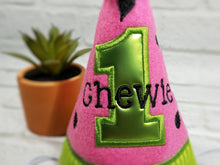 Load image into Gallery viewer, Close up of pink pet party hat personalized