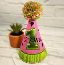 Load image into Gallery viewer, Pink Watermelon dog party hat with lime green birthday number